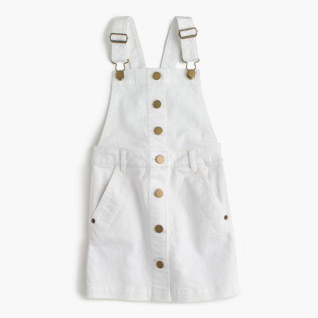 Girls' denim overall dress in white