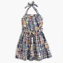 Girls' madras halter dress