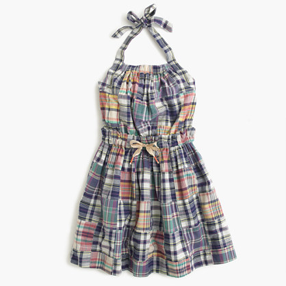 Girls' madras halter dress