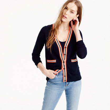Tipped summerweight cardigan sweater