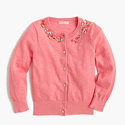 Girls' fish necklace cardigan sweater