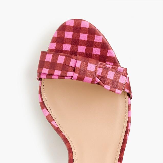 Gingham leather sandals with bow