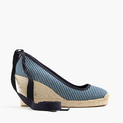 Seville canvas espadrille wedges with ankle wrap