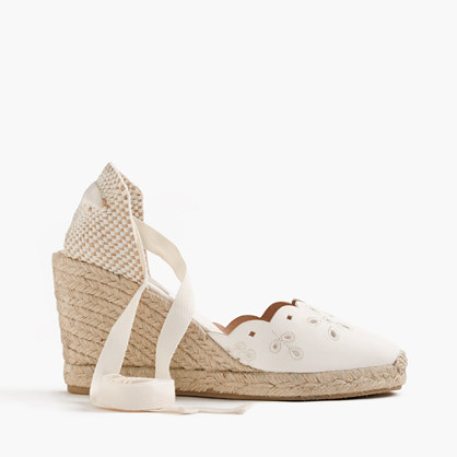 Sardinia leather eyelet espadrille wedges