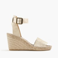 Corsica metallic tumbled leather espadrille wedges