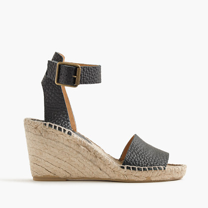 Corsica tumbled leather espadrille wedges