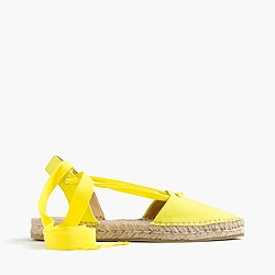 Canvas pointy-toe espadrilles with ankle wrap