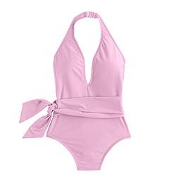 Deep-V wrap one-piece swimsuit