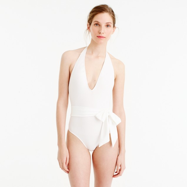 Deep-V wrap one-piece swimsuit