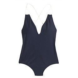 Braided rope V-neck one-piece swimsuit