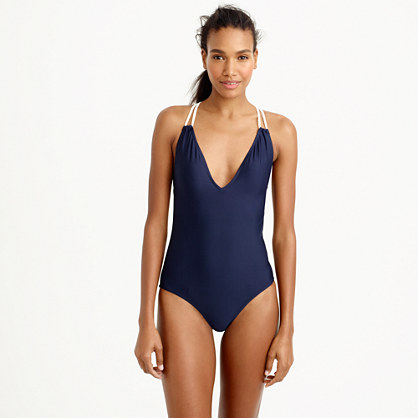 Long torso braided rope V-neck one-piece swimsuit