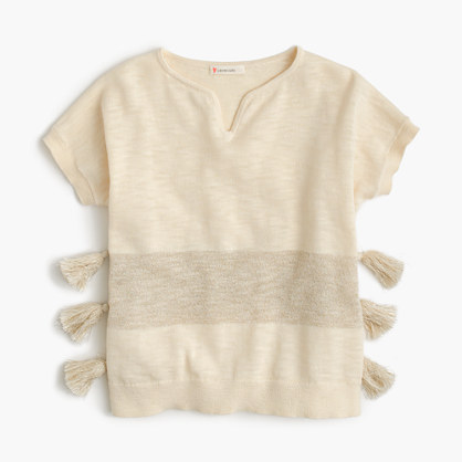 Girls' side-tassel short-sleeve sweater
