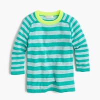 Girls' summer sweater in turquoise stripe