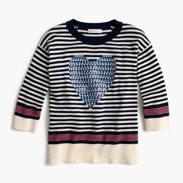 Girls' striped popover sweater with sequin heart