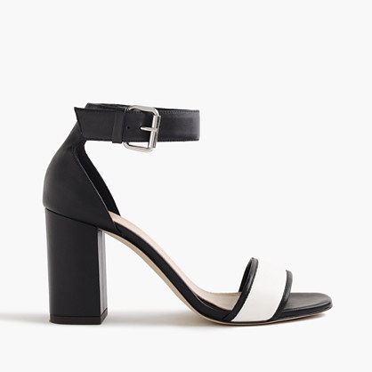 Leather high-heel sandals with contrast strap