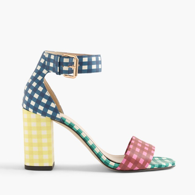 Collection leather high-heel sandals in mixed gingham