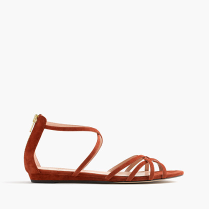 Cary mini-wedge sandals in suede