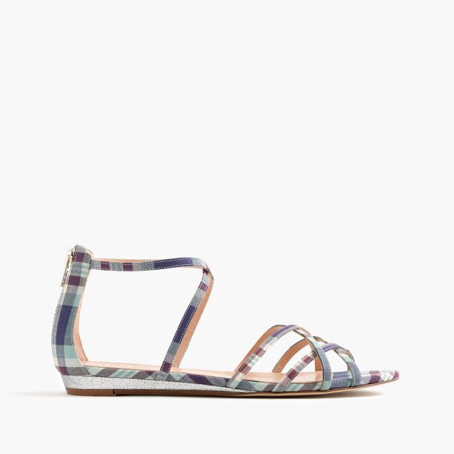 Cary mini-wedge sandals in plaid