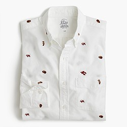 Slim lightweight oxford shirt with embroidered sea life
