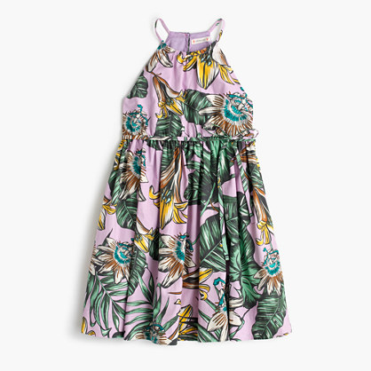 Girls' sundress in pastel frond print