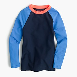 Girls' colorblock raglan-sleeve rash guard