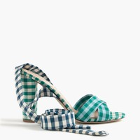 Mixed gingham sandals with ankle wrap