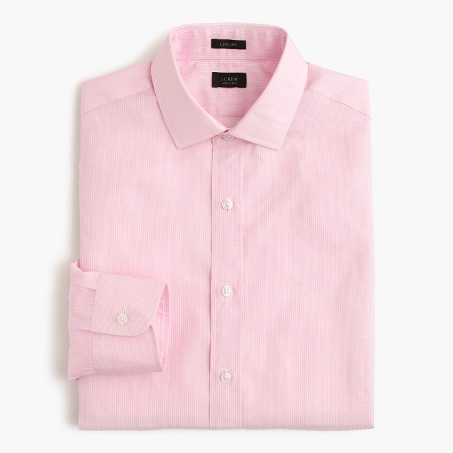 Ludlow Irish cotton-linen shirt in pink stripe