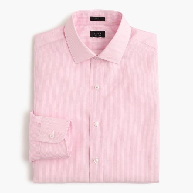 Ludlow Irish cotton-linen shirt in pink stripe