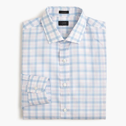 Ludlow shirt in pale blue plaid