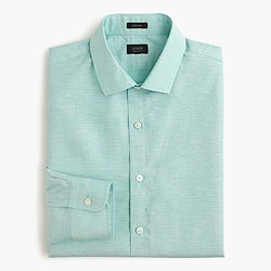 Ludlow end-on-end Irish cotton-linen shirt in emerald sea
