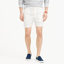Dock short in white Irish herringbone cotton-linen
