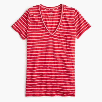 Linen V-neck pocket T-shirt in stripe