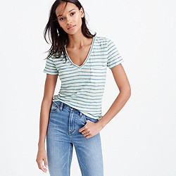 Linen V-neck pocket T-shirt in stripe