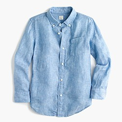 Kids' Irish linen shirt in tide blue