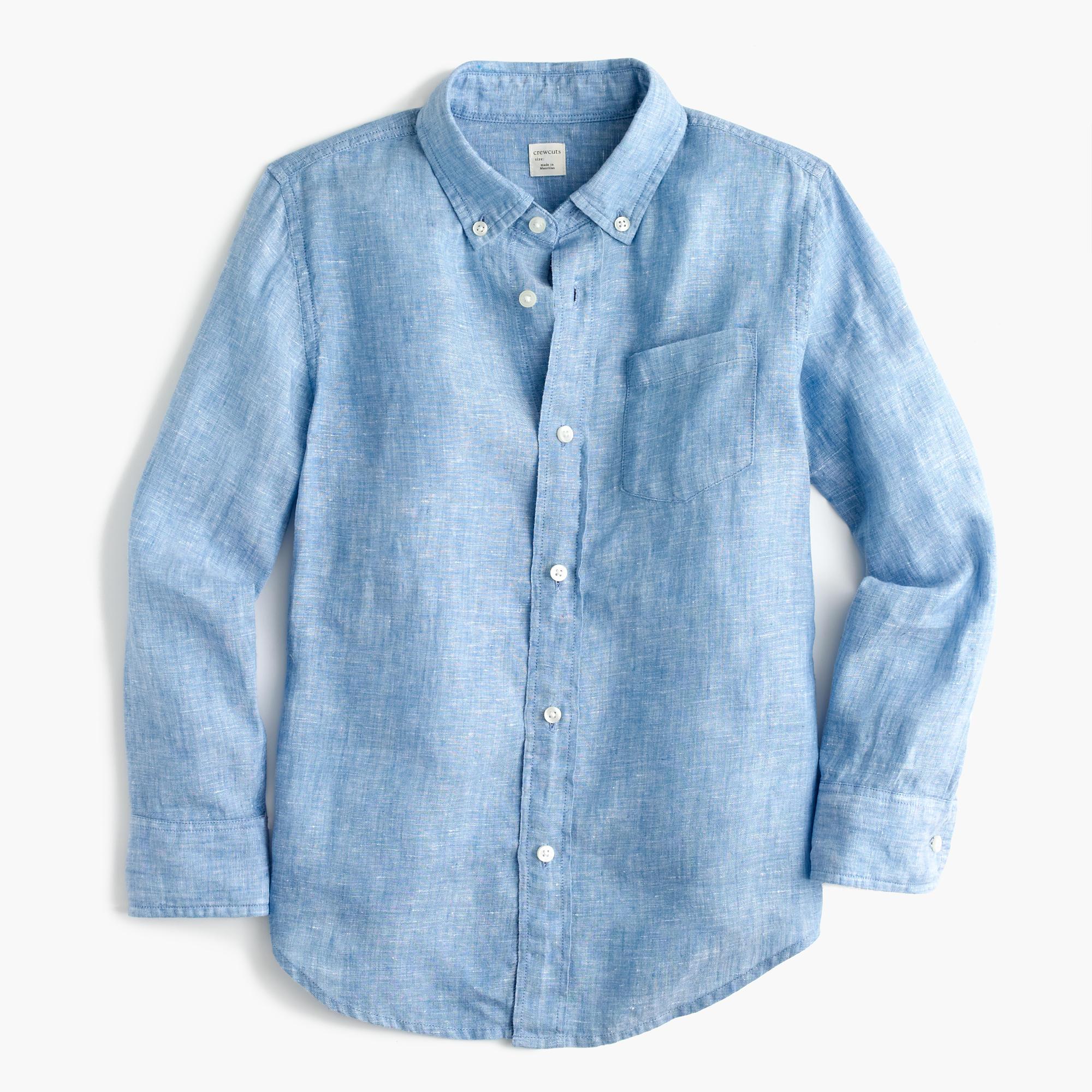 Kids 39 irish linen shirt in tide blue boys 39 shirts j crew for Irish linen dress shirts