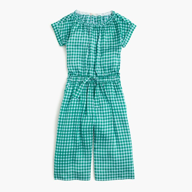 Girls' drapey romper in gingham