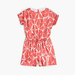Girls' drapey romper in geo floral