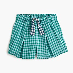 Girls' skirty short in turquoise gingham