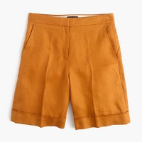 Cuffed bermuda short in linen