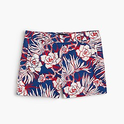 Cotton short in retro floral