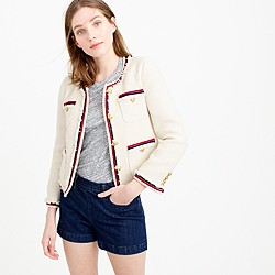 Petite fringy tweed jacket