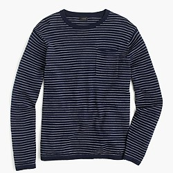 Cotton crewneck sweater in nautical stripe