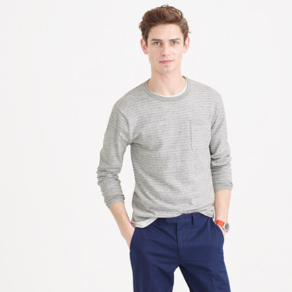 Cotton crewneck sweater in nautical stripe