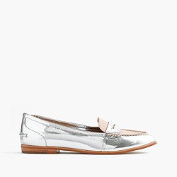Collins mixed metallic leather loafers