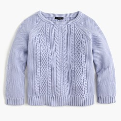 Cotton cable crewneck sweater