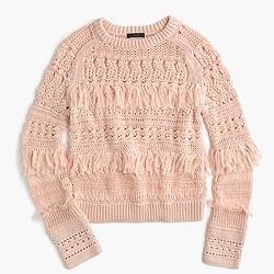 Collection fringe crewneck sweater