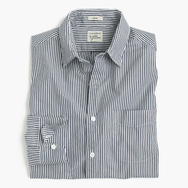 Slim Secret Wash shirt in navy stripe