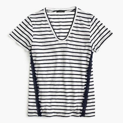 Striped V-neck top with pom-pom trim