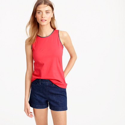 Faux-leather scalloped trim tank top