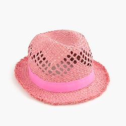 Girls' straw fedora